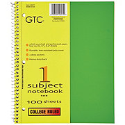 GTC 1 Subject College Ruled Spiral Notebook, Assorted Colors