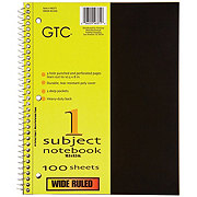 GTC 1 Subject Wide Ruled Spiral Notebook, Assorted Colors