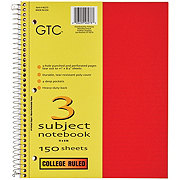 GTC 3 Subject College Ruled Spiral Notebook, Assorted Colors