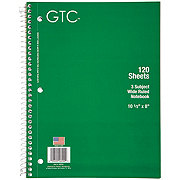 GTC 3 Subject Wide Ruled Spiral Notebook 120 Sheets, Assorted Colors