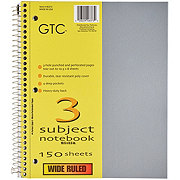 GTC 3 Subject Wide Ruled Spiral Notebook, Assorted Colors