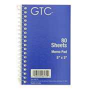 "GTC 5"" x 3"" Memo Book, 80 Sheets, Colors May Vary"