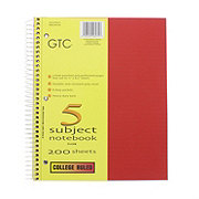 GTC 5 Subject College Ruled Spiral Notebook, Assorted Colors