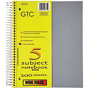 GTC 5 Subject Wide Ruled Spiral Notebook, Assorted Colors