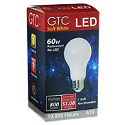 GTC A19 LED 60W 800 Lumens Soft White