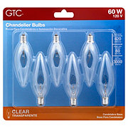 GTC Clear Candelabra Base 60 Watt Chandelier Light Bulbs
