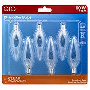 GTC Clear Candelabra Base 60 Watt Chandelier Light Bulbs
