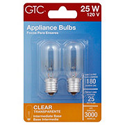GTC Clear Intermediate Base 25 Watt Appliance Light Bulbs