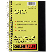 GTC College Ruled Assignment Spiral Notebook, Assorted Colors