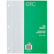 GTC College Ruled Loose Leaf Notebook Paper, 10-1/2