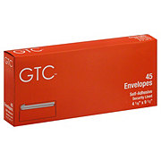 GTC Self-Adhesive Security Lined Envelopes 4-1/8 in x 9-1/2 Inch