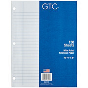 GTC Wide Ruled Loose-Leaf Notebook Paper, 10-1/2