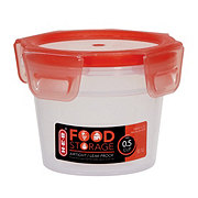 H-E-B 0.5 Cup Airtight Leak Proof Food Storage Container with Red Lid
