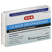 H-E-B 12 Hour Decongestant Pseudoephedrine Hydrochloride 120 mg Extended Release Coated Caplets