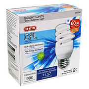 H-E-B 13 Watt CFL T2e Micro Bright White Light Bulbs