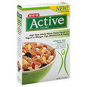 H-E-B Active Cultures High Fiber Whole Wheat Flakes Cereal