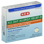 H-E-B All Day Allergy Relief-D Cetirizine 5 mg/Pseudoephedrine 120 mg Extended Release Tablets