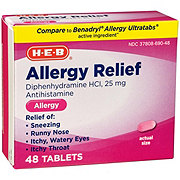 H-E-B Allergy Relief 25 mg Diphenhydramine Tablets
