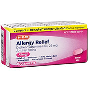H-E-B Allergy Relief Diphenhydramine 25 mg Antihistamine Tablets