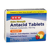 H-E-B Antacid Extra Strength 750 mg Assorted Fruit Flavors Chewable Tablets