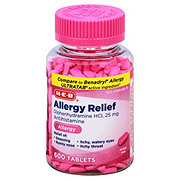 H-E-B Antihistamine Allergy 25 mg Tablets Clear Bottle