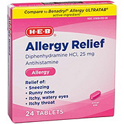 H-E-B Antihistamine Allergy Diphenhydramine HCI 25 mg Tablets