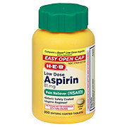 H-E-B Aspirin Low Dose 81 mg Enteric Coated Tablets (Easy Open Cap)