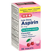 H-E-B Aspirin Low Strength 81 Mg Cherry Flavor Chewable Tablets