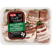 H-E-B Bacon Wrapped Stuffed Jalapenos Poppers with Pork Sausage and Cheddar Cheese