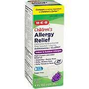 H-E-B Children's Allergy Relief 24 Hour Cetirizine 1 mg For Ages 2 & Over Sugar Free Grape Syrup