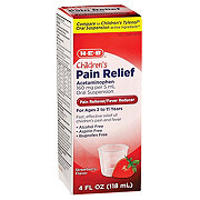 H-E-B Children's Pain Relief Acetaminophen Suspension for Ages 2 to 11 Strawberry Flavor Liquid