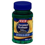 H-E-B Chromium Picolinate 500 mcg Tablets