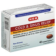H-E-B Cold and Sinus Relief Ibuprofen 200 mg/Pseudoephedrine HCl 30 mg Coated Caplets