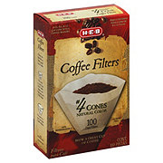 H-E-B Cone Coffee Filters, No. 4, Natural Brown