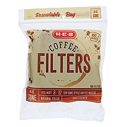 H-E-B Cone Coffee Filters No. 4, White