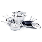 H-E-B Connect Stainless Steel Tri-Ply Cookware Set with Non-Stick Fry Pans