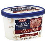 H-E-B Creamy Creations Light Churn Style Cherry Vanilla Ice Cream