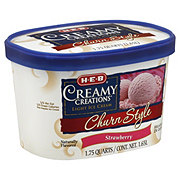 H-E-B Creamy Creations Light Churn Style Strawberry Ice Cream