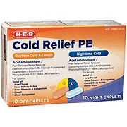H-E-B Day & Night Cold Daytime Cold + Cough Nighttime Cold Coated Caplets
