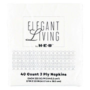 H-E-B Elegant Living White Dinner Napkins