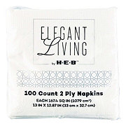 H-E-B Elegant Living White Lunch Napkins