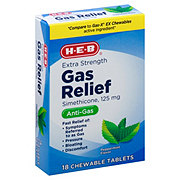 H-E-B Extra Strength Gas Relief Peppermint Creme Flavor 125 mg Chewable Tablets