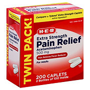 H-E-B Extra Strength Pain Relief 500 mg Acetaminophen Caplets Twin Pack