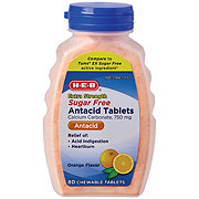 H-E-B Extra Strength Sugar-Free Antacid Orange Flavor Chewable Tablets