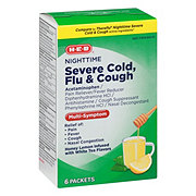 H-E-B Flu & Severe Cold & Cough Nighttime Honey Lemon Packets