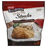H-E-B Fully Cooked Chicken Fried Steaks with Cream Style Gravy Mix