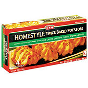 H-E-B Homestyle Twice Baked Potatoes Sour cream, cheddar cheese, bacon & chives
