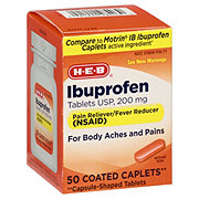 H-E-B Ibuprofen 200 Mg Coated Caplets