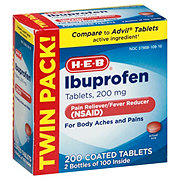 H-E-B Ibuprofen 200 mg Coated Tablets Value Pack
