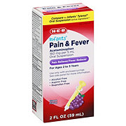 H-E-B Infants' Pain and Fever Acetaminophen Suspension For Ages 2 To 3 Grape Flavor
